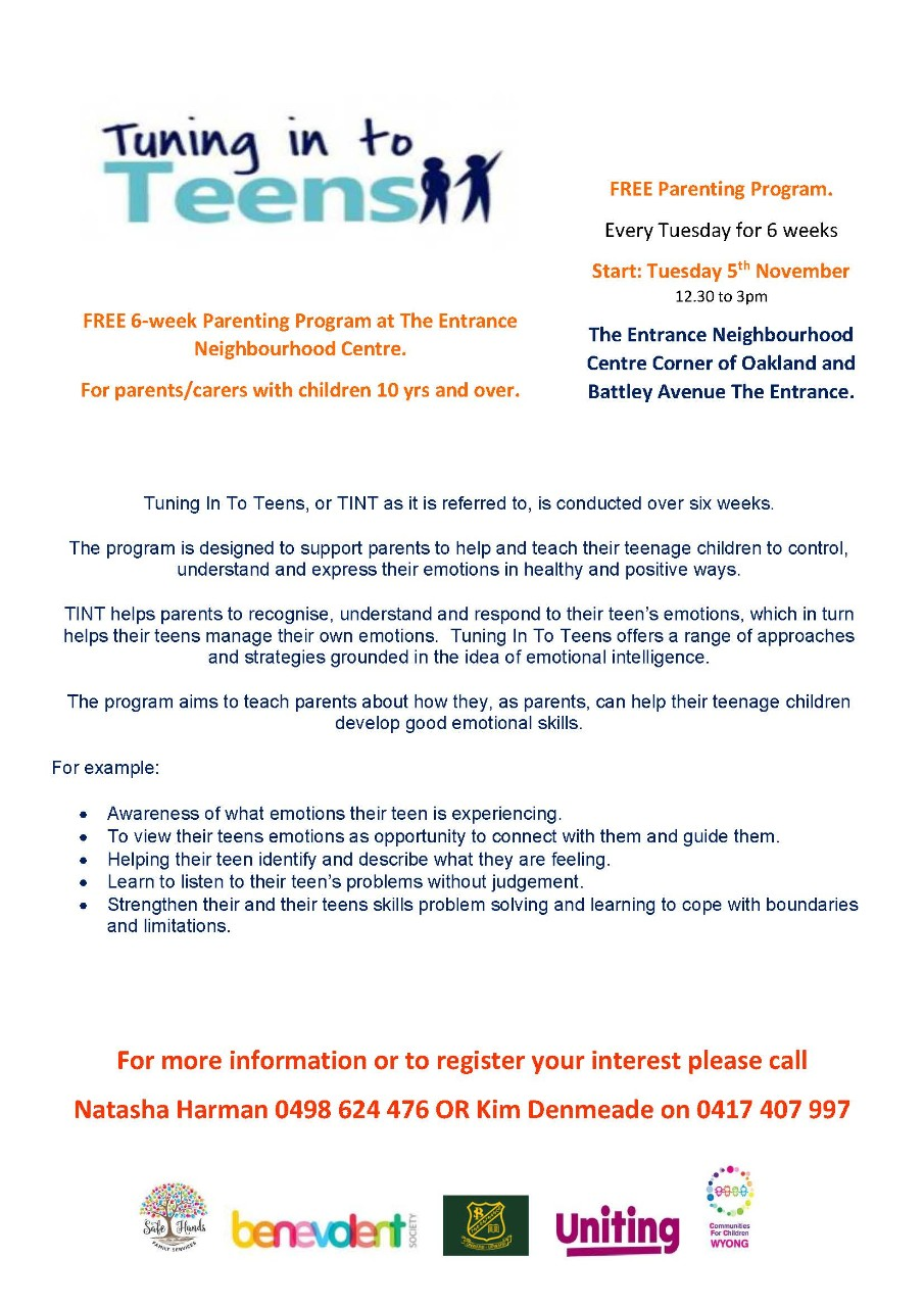 Information on Tuning in to Teens program