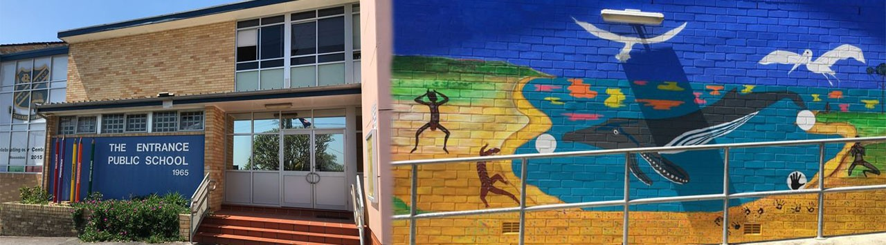 Collage of the front of the school and the whale mural on the side of the school.